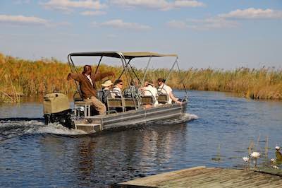 Boat safari at Vumbura Plains, Okavango Delta